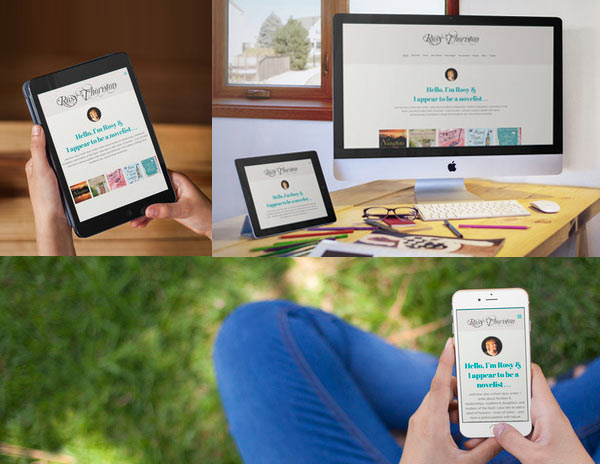 Screenshot of Rosy Thornton's website on various devices (iphone, imac, ipad)